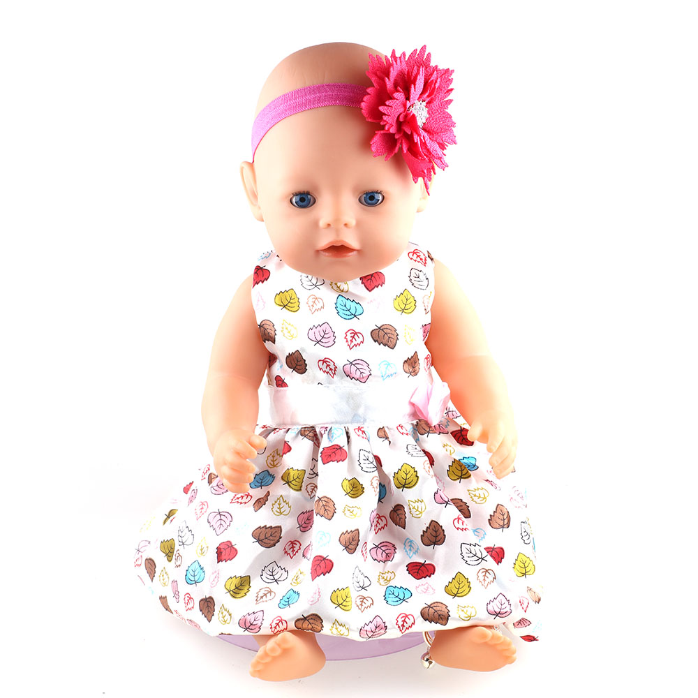 12 Colors Princess Dress Doll Clothes fit 43cm Baby Born Zapf Doll Clothes and Accessories ( Random transmission Band Hair) high quality 15 colors princess dress doll clothes for 43cm baby born zapf doll clothes and accessories best gift for children