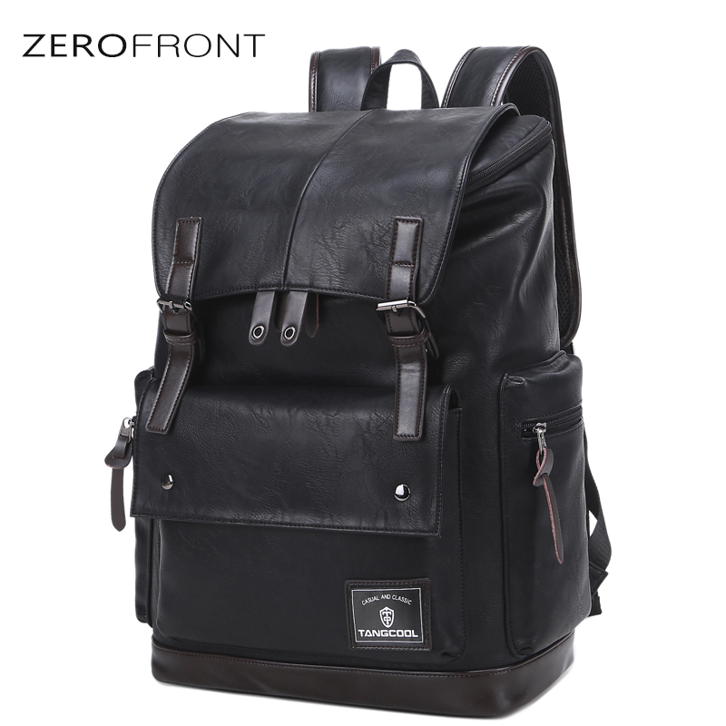 ZEROFRONT Backpack Males Fashion Leather Backpacks Large Capacity Preppy Style College Teenager School Bag For 15.6 Inch LaptopZEROFRONT Backpack Males Fashion Leather Backpacks Large Capacity Preppy Style College Teenager School Bag For 15.6 Inch Laptop