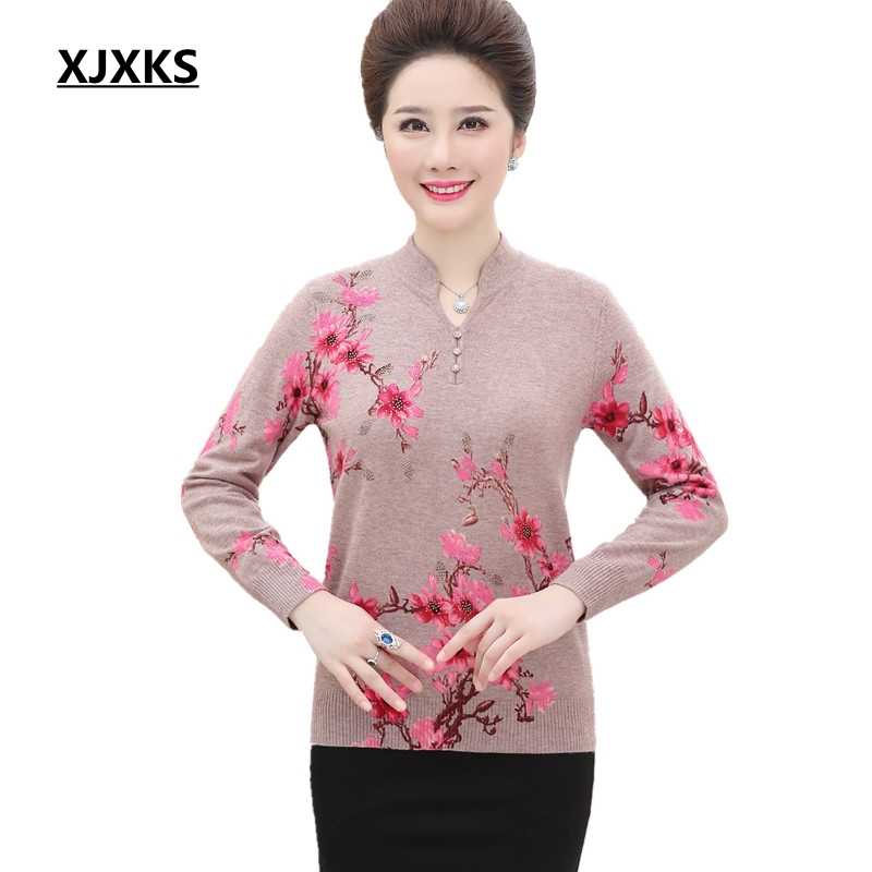 4a3396dc82c9 XJXKS Flower Printing Sweater Plus Size Wool Sweaters Women Winter Tops  Autumn Sweater Knitted Pullover Women