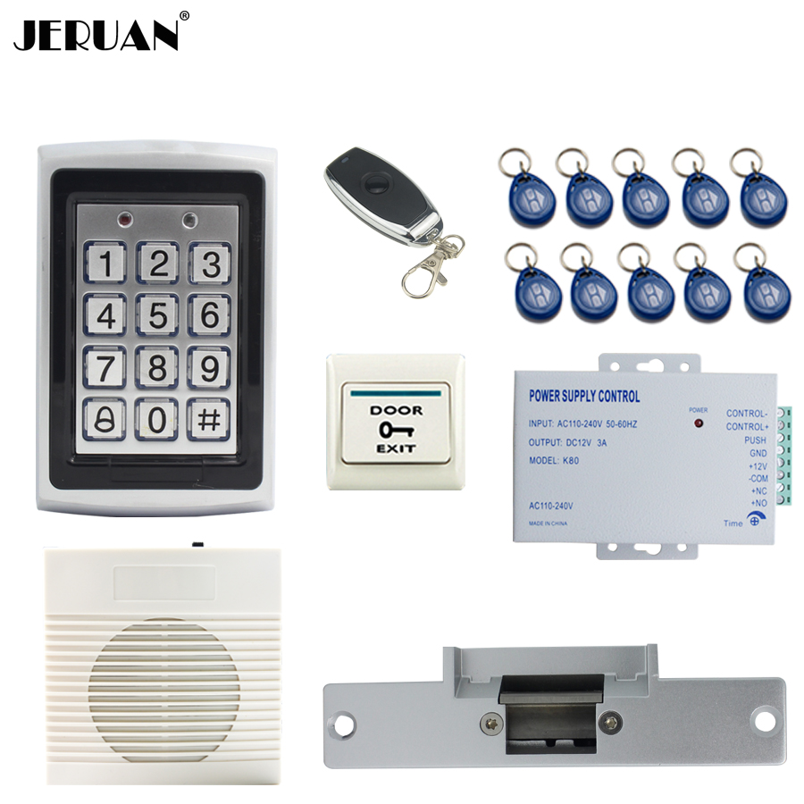 JERUAN Metal Waterproof Backlight button RFID Access Controller system kit+doorbell+Remote control+in stock Free shipping jeruan metal waterproof rfid password touch access controller system kit speaker doorbell remote control in stock free shipping