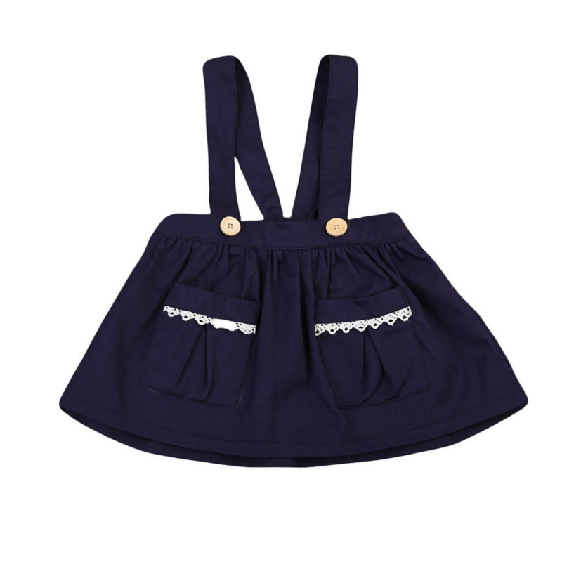 All-match Newest Trendy Hot Sale Baby Girl Sleeveless Bib Above Knee Strap Autumn Party Pocket Sweet Skirt Fashion Clothes 6M-3Y
