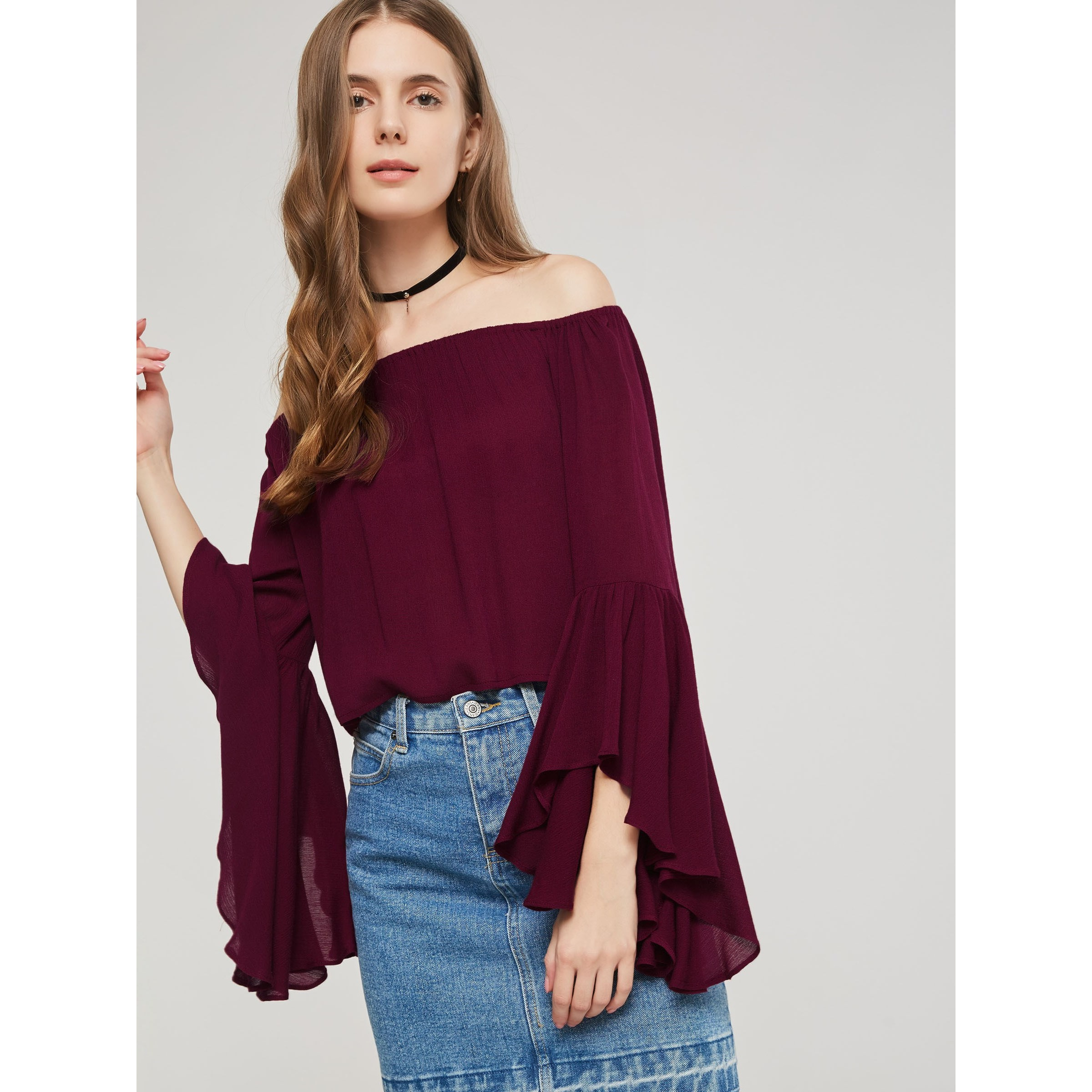 Women Blouses Gothic Casual Elegant Red Sexy Loose Cotton Flare Sleeve Plain Pleated Female Fashion Simple Hot Cheap Shirts