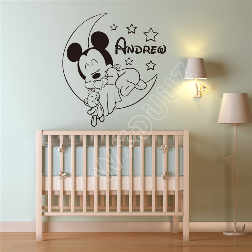 Personalized Custom Mickey Mouse Wall Decal Nursery Custom