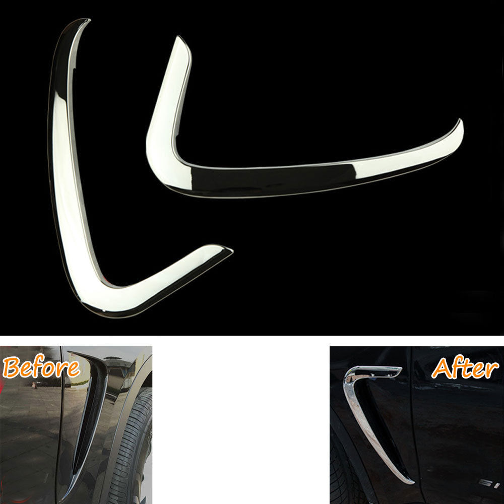 2pcs New Car Air Vent Fender Cover Trim Molding Shiny ABS Frame Decoration For BMW X5 2014 2015 Car Styling