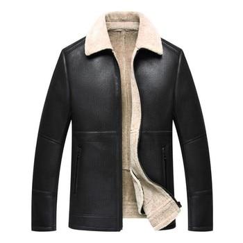 High quality Men's winter new Slim fur one leather jacket warm plus cashmere solid color lapel short sheepskin Men coat M-4XL