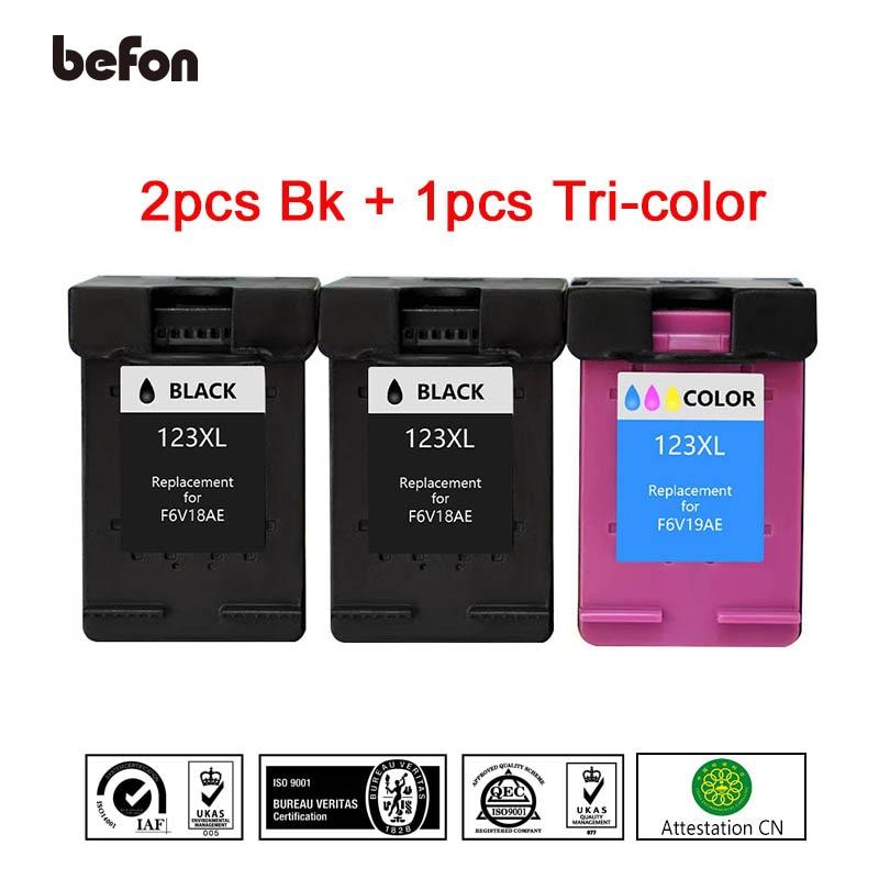 befon Refill 123XL 2 Black 1 Color Ink Cartridge Replacement for HP 123 HP123 for Deskjet 1110 2130 2132 2133 2134 3630 Printer цена