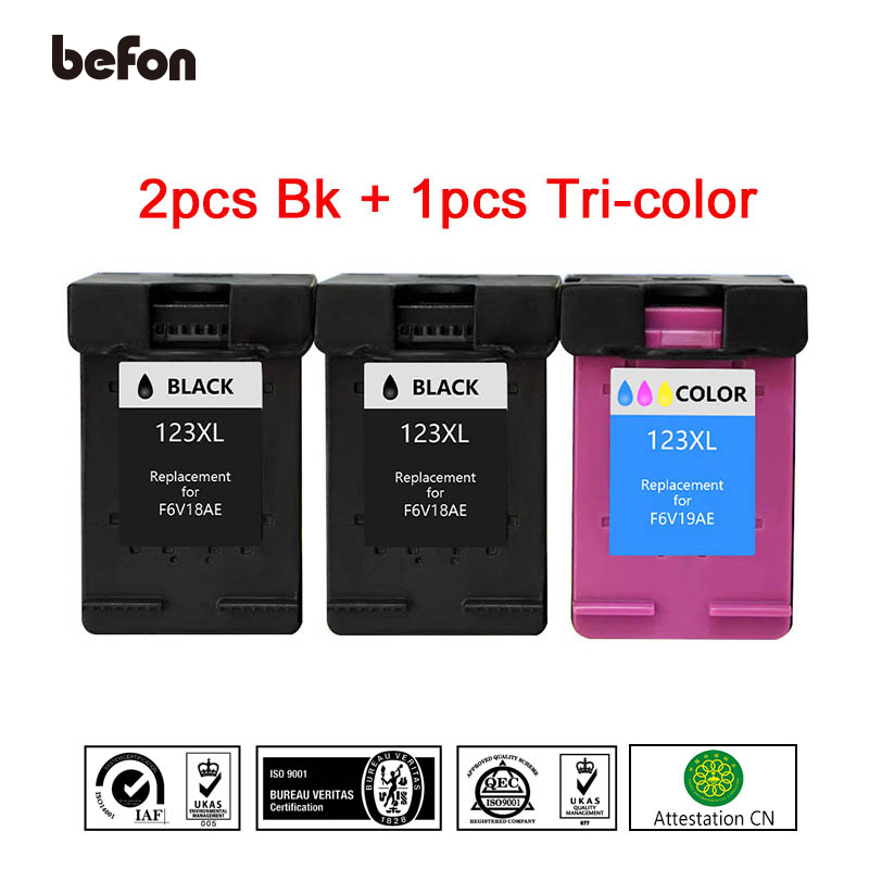 befon Refill 123XL 2 Black 1 Color <font><b>Ink</b></font> Cartridge Replacement for <font><b>HP</b></font> 123 HP123 for <font><b>Deskjet</b></font> 1110 <font><b>2130</b></font> 2132 2133 2134 3630 <font><b>Printer</b></font> image
