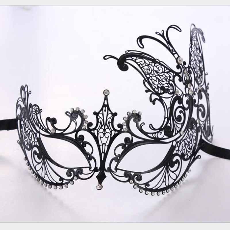ذكر أنثى فانتوم جمجمة ذهبية البندقية المعادن زي حفلة تنكرية قناع الليزر قطع هالوين حفلة موسيقية تأثيري أقنعة الزفاف الكرة