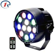 hot deal buy zjright 15w ir remote flat led par lights sound control dmx512 projector rgbw led stage light disco dj bar effect dyeing lights