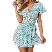 Beach Bohemian Party Dress Women Casual Short Sleeve V Neck Mini Summer Vacation Floral Print Dresses
