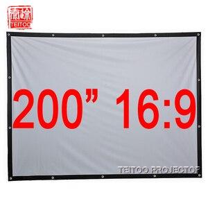 200 дюймовый 16:9 белый холщовый тканевый быстро Складывающийся Портативный проекционный экран для HD LED DLP проекторы для фильмов, пленка