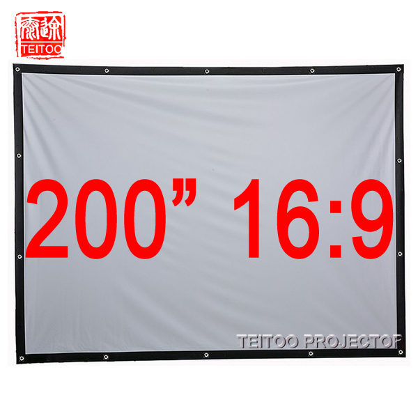 200 Inches 16:9 Wit Canvas Stof Snelle Fold Draagbare Projectiescherm Voor Hd Led Dlp Movie Projectoren, Cortinas Pelicula Film