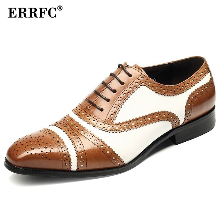 ERRFC Designer White Formal Shoes Men Square Toe Lace Up Black Trending Dress Shoes Man Office