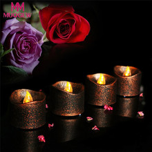 4PC Flameless Tea Lights Electric Battery Fake Tealight Black Party LED Candles Chrismas Decor Party LED Candles luz de presen�a