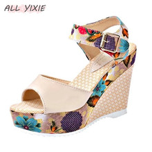 ALL YIXIE 2019 New Fashion Women Summer Shoes Platform Wedges Casual Woman Floral Super High Heels Open Toe Sandal