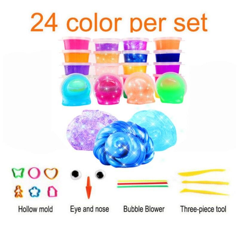 Boue de gelée Non toxique couleur cristal coloré 24 couleurs argile Ramen brillante enfant bricolage Slime moelleux Plasticine éducation artisanat jouets
