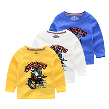 children's cartoon T-shirt cotton children wear long sleeves T-shirt boys T-shirt shirt  boys long sleeve tops two tone cream long sleeves high low t shirt