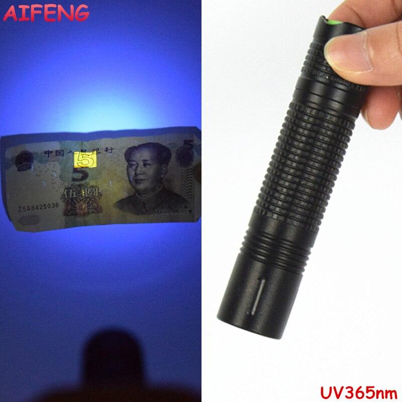 AIFENG Led Flashlight UV Torches AA Battery Operated UV Flashlight 365nm Black Light Mini Flashlights For Checker Cash Detection sd 01 uv light 400nm 51 led 1 mode flashlight black 3 x aa