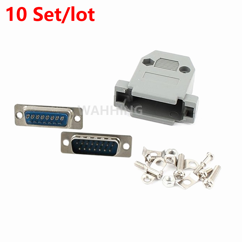 10x DB15 VAG serial port connector 15Pin male socket Plug connector D-Sub 15 Pin copper adapter with Plastic Case DIY HY1251*10