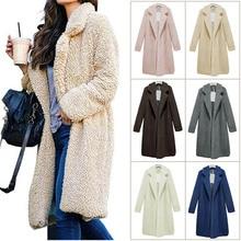Горячее предложение, Женский Топ, пальто с длинным рукавом, теплое, с отворотом, модное, средней длины, одноцветное, для зимы, CGU 88