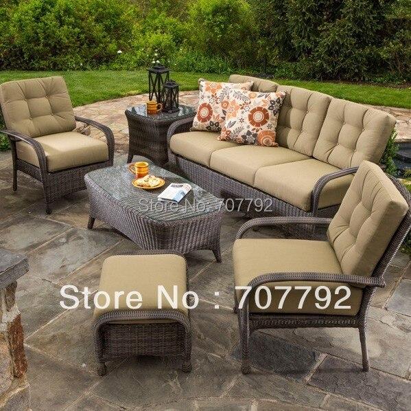 Mobili da giardino in vimini 6 pz divano set conversazione for Divanetti rattan