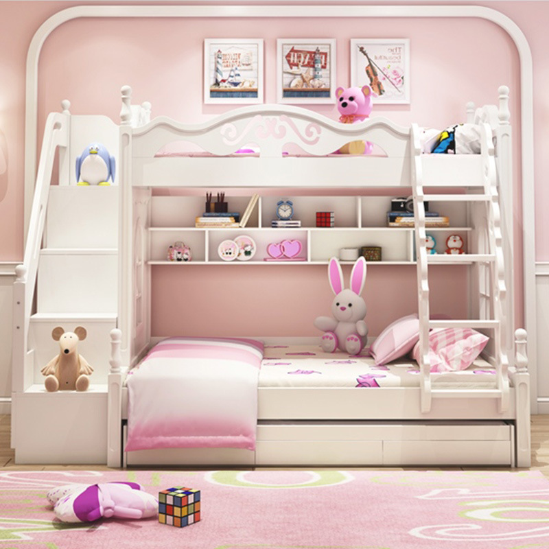 Korean Children Bed European Girls Double Mother Wood Princess Bed High And Low Children Bunk Bed Manufacturers