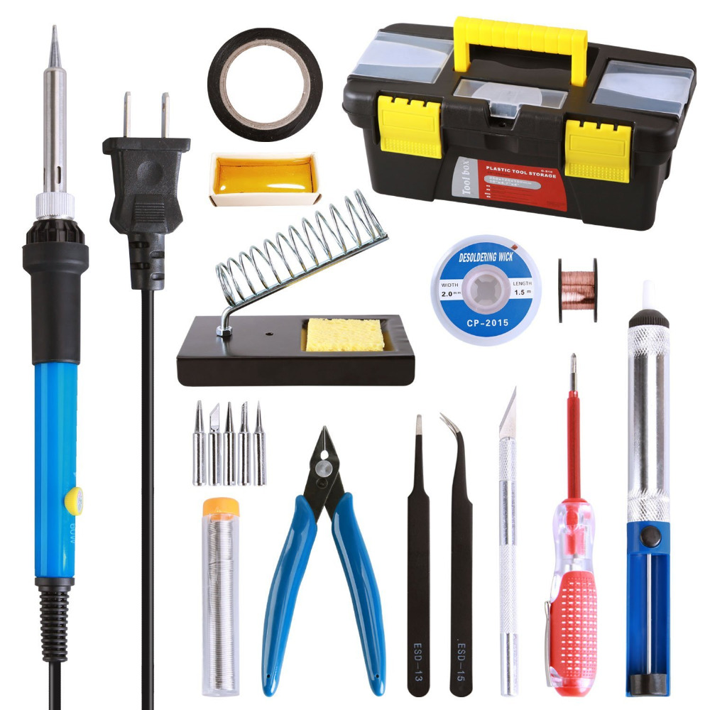 Hot 60W 220V EU plug 110v US Adjustable Temperature Soldering Iron Kit 5 Tips Desoldering Pump Soldering Iron Stand Tweezer in Electric Soldering Irons from Tools