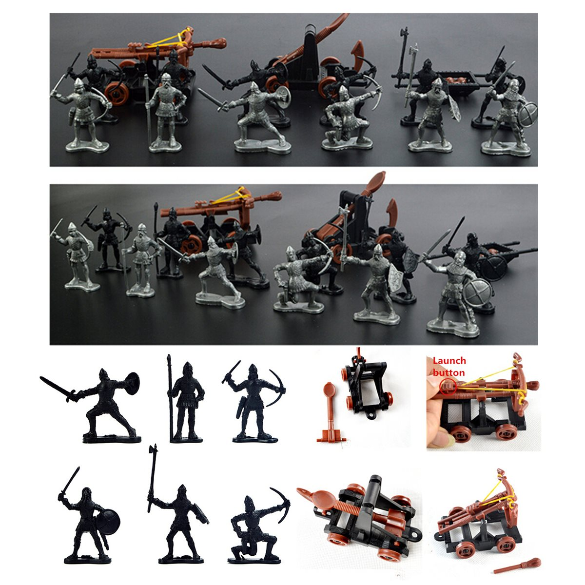 14 pcs/set Knights Medieval Toy Catapult Crossbow Soldiers Figures Playset Plastic Model Toys Gift For Children Adult children s toy crossbow with infrared white army green