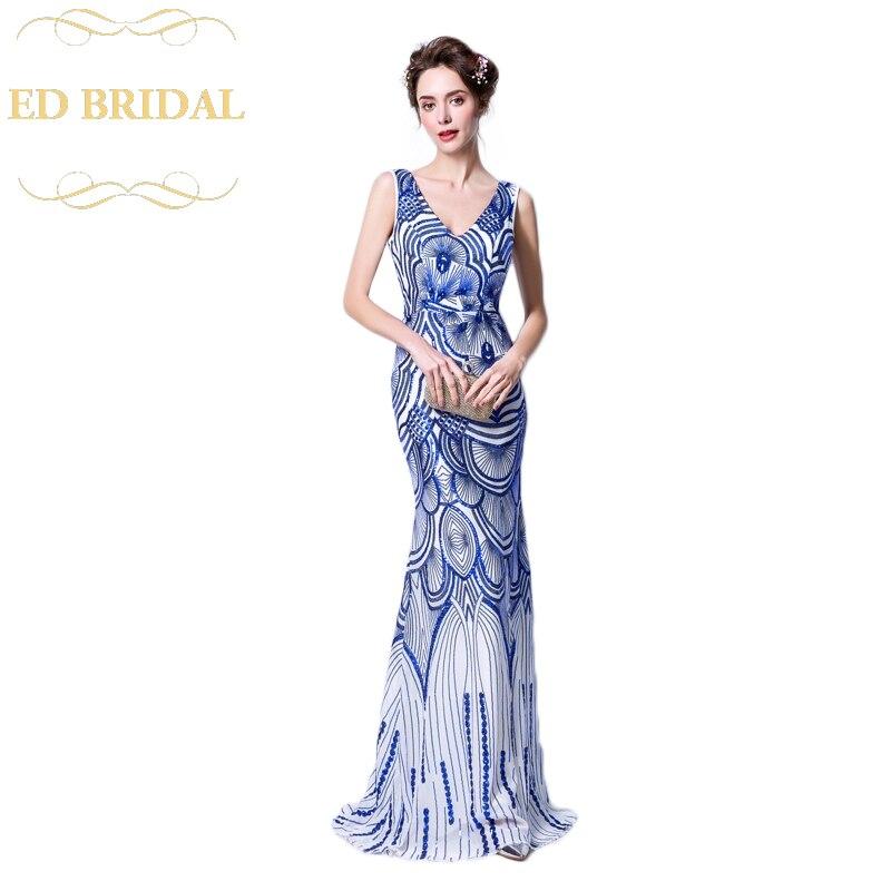 Для женщин Тонкий Русалка Королевский синий с v-образным вырезом блестками Длинные вечерние платья Мода Пром Платья для вечеринок abendkleider
