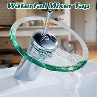 Bathroom Waterfall Basin Sink Mixer Tap Faucet Chrome Polished Glass Edge Faucet Tap Cold And Hot Water Deck Mounted
