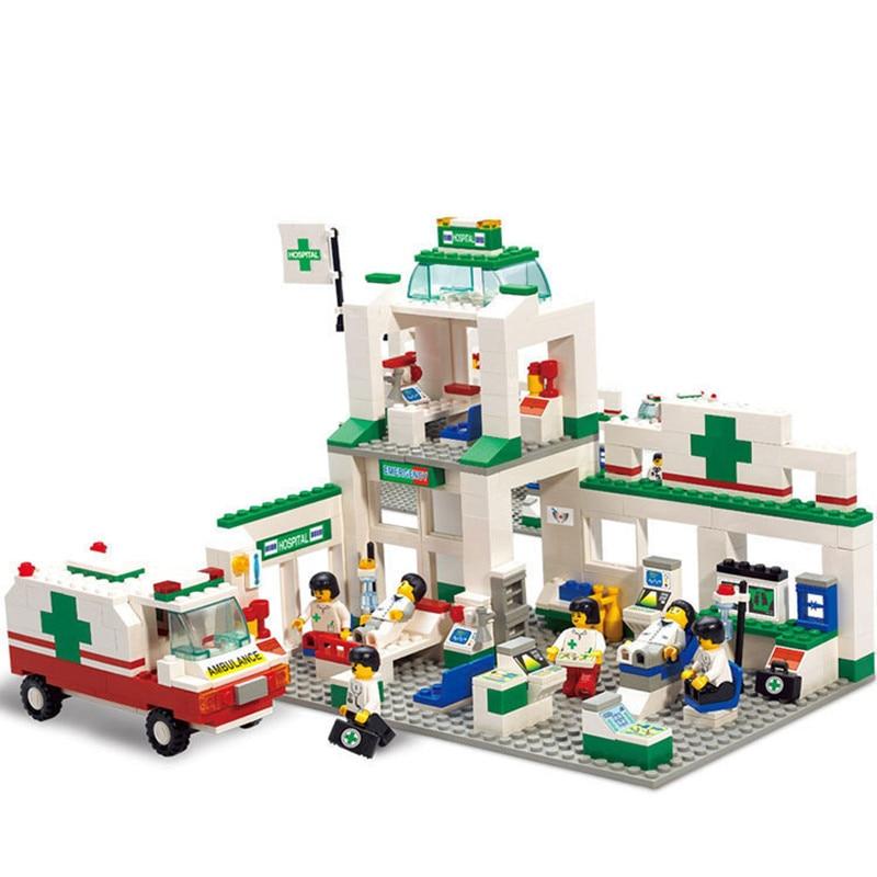 376pcs Brand Compatible Assembly City Emergency Center Model Building Kit Toys Educational Hospital Ambulance Car Bricks Blocks