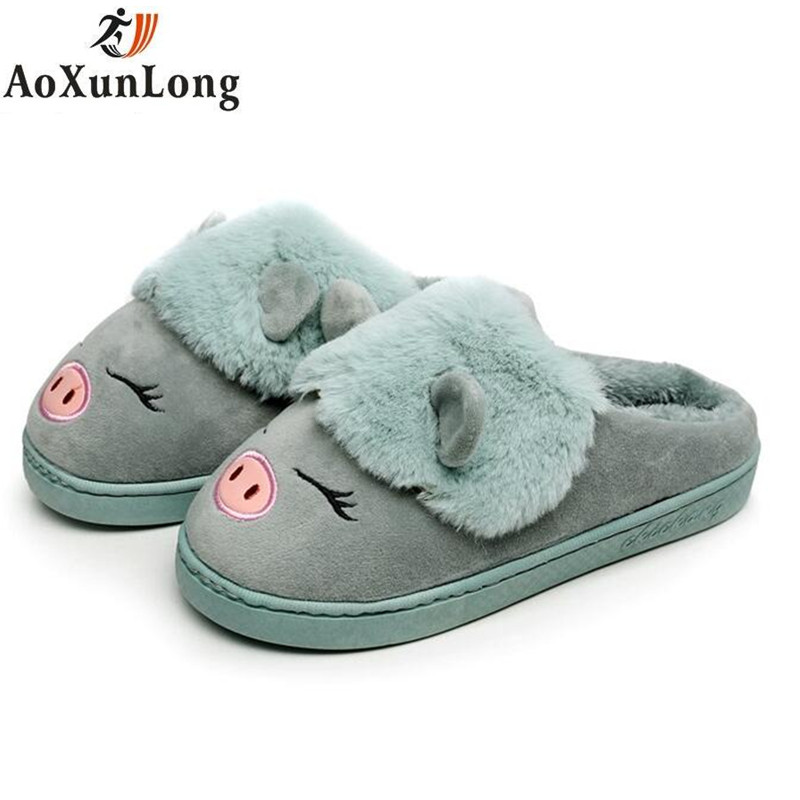Winter New Women Slippers Cute little Pig Couple Shoes Flat Quality Plush Warm Home Unisex Indoor Slippers Women Blue Size 36-45 plush flat indoor cartoon flock adult furry slippers fluffy winter fur animal shoes rihanna house home women adult slipper anime