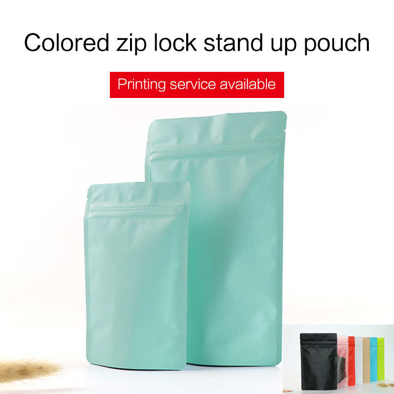 matte blue stand up pouch with zipper aluminum foil VMPET zip lock bag tea coffee bean food packaging bags custom printing