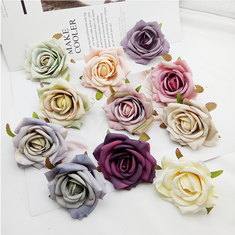 50 pcs 7cm Silk Rose Artificial Flower Wedding Leaves Decoration Items Wreath DIY Handicraft Flowers Fake Simulation Cheap