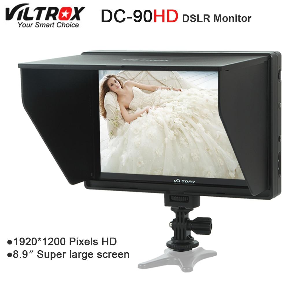 Viltrox DC-90 HD 8.9'' Super Large Screen LCD HDMI AV Camera Video Monitor Display + Battery+ Charger for Canon Nikon DSLR BMPCC