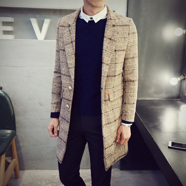 M-3XL! 2016 мужская одежда Средней Длины мужского пальто тонкий шерстяной верхняя одежда однобортный сетка траншеи костюмы