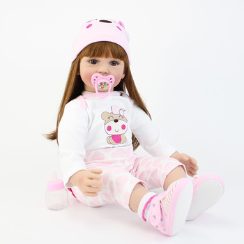 60cm Soft Silicone Vinyl Reborn Baby Doll Toys Princess Toddler Babies Like Alive Bebe Girl Bonecas Birthday Gift Play House Toy