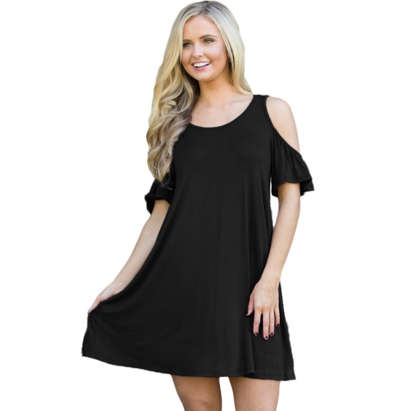 Vestidos de fiesta 2017 women cold shoulder dress blue black wine lilac mini short casual office work dresses clothing H22988