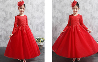 Bright Red Applique Long Sleeves Flower Girl Dresses Princess Dresses Pageant Party Dress Custom Made Size