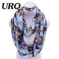 New fashion Infinity scarves 1pc Autumn Leaves Print  Woman Viscose Cotton Tube scarves V8A9219