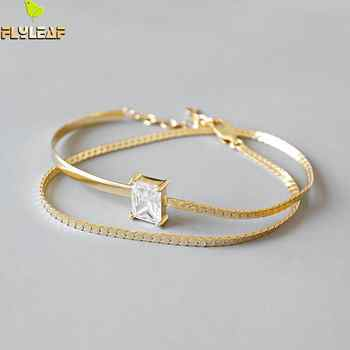 Flyleaf Gold Double Chain 4a Zircon Charm Bracelets For Women 2018 New Trend 100% 925 Sterling Silver Lady Fashion Jewelry - DISCOUNT ITEM  40% OFF All Category