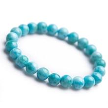 8mm Genuine Blue Natural Larimar Gemstone Crystal Round Bead Bracelets For Women Female Drop Shipping