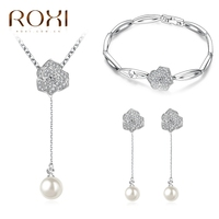 2017 ROXI Charms Flowers Stud Earrings/Long Necklace Imitation Pearl Necklace Pendant Jewellery Set Chains Vacation Gift