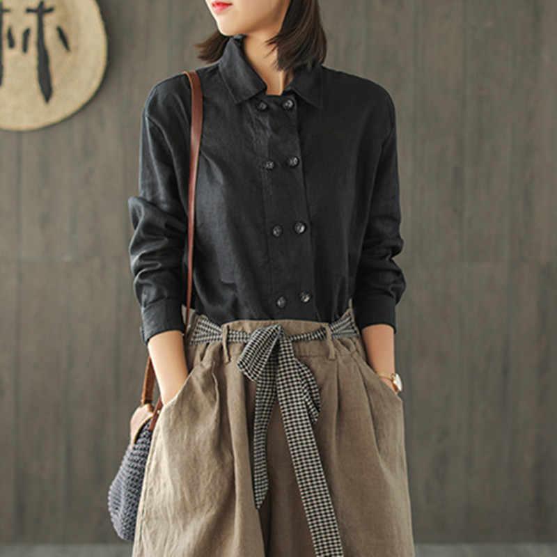 Женская льняная блузка Johnature, повседневная однотонная с отложным воротником и пуговицами, свободная симметричная блуза с длинным рукавом, для весны