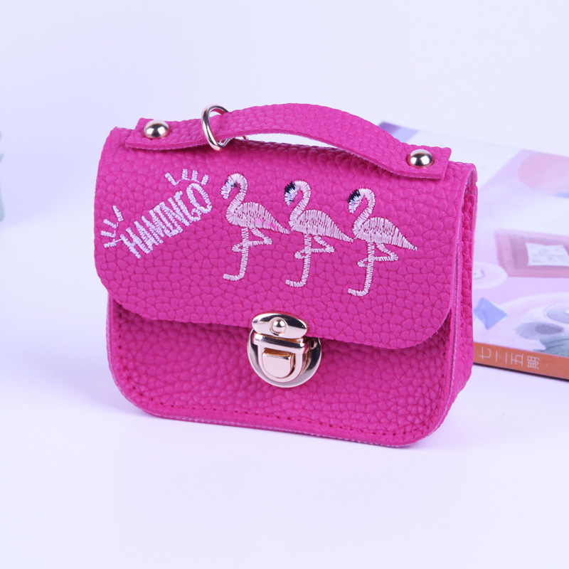 b9e6198385 BONAMIE Girl's Cute Coin Purse With Flamingo Embroidery Lock Lady Pu  Leather Card Holder Change Coin Bag Female Mini Money Bag