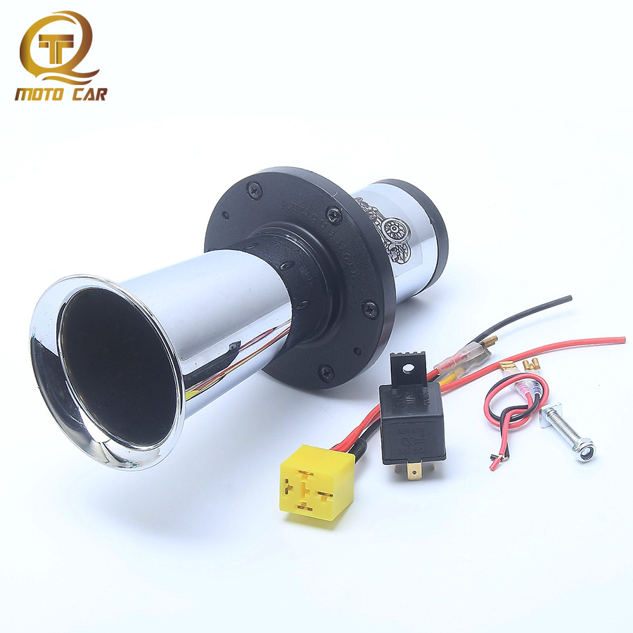 Universal MOTO AIR Horn Loud Sound Siren DC12V 110DB Antique Vintage Old Horn Silver Relay Socket for Motorcycle Car Truck Boat