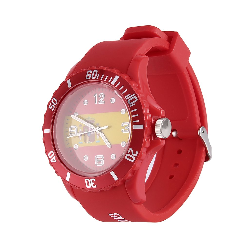 цена на Spanish/Brazilian Flag Pattern Red Color Silicone Wristwatches Casual School Quartz Watch Unisex Fashion Sports Watches