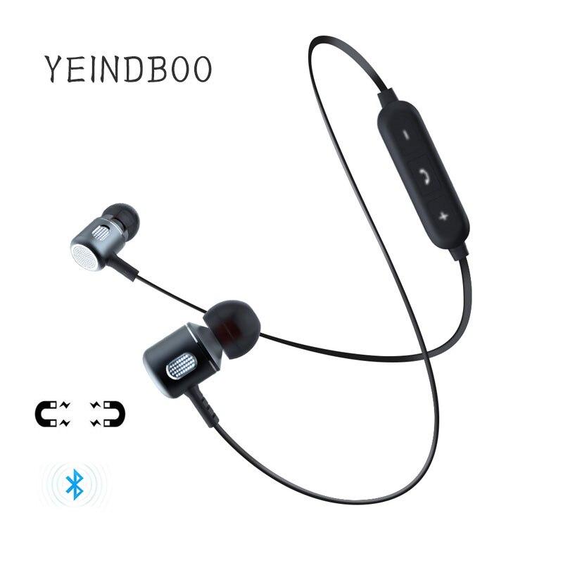 YEINDBOO Bass auricular Bluetooth auriculares inalámbricos con micrófono magnético Bluetooth en la oreja los Auriculares auriculares para el teléfono móvil deportes