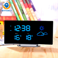 Arc Shape Digital Temperature Display LED Alarm Clock Weather Forecast FM Radio Snooze Function Home Decoration Desk Table Clock