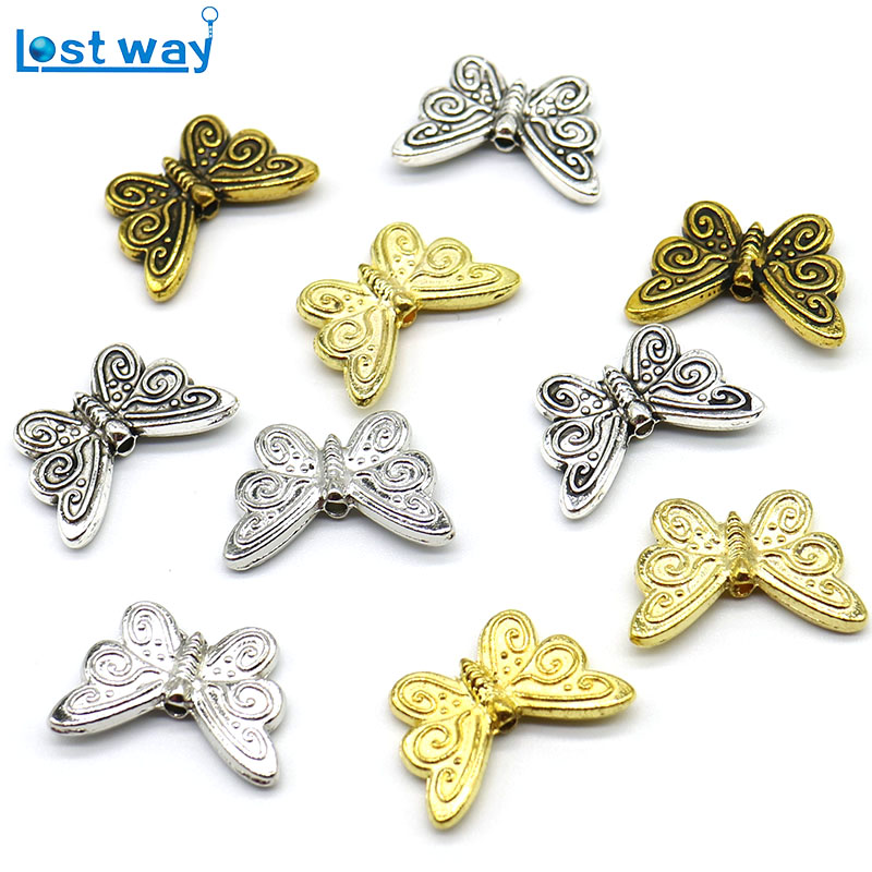 10pcs Tibetan argint Spacer Margele original Charm Argintiu Charms Sclipici fluture Animal margele Fit Bratara colier DIY
